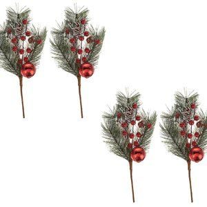 S/4 Jingle Bell Pinecone and Berry Picks
